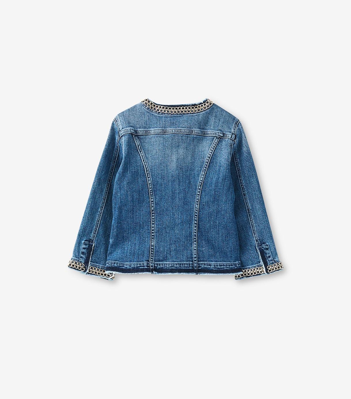 huge discount dd6d9 def35 Giacca jeans con catena gioiello Liu Jo